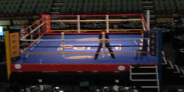 A boxing ring mat in Perth, one of our custom made industrial textiles